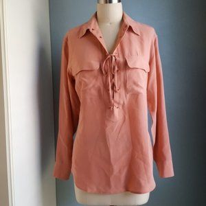 Equipment Peach 100% Silk Knox Lace Up Shirt XS